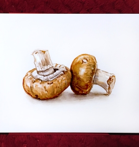 Day 20 - #WorldWatercolorGroup Two Mushrooms in Two colors watercolor painting on white background