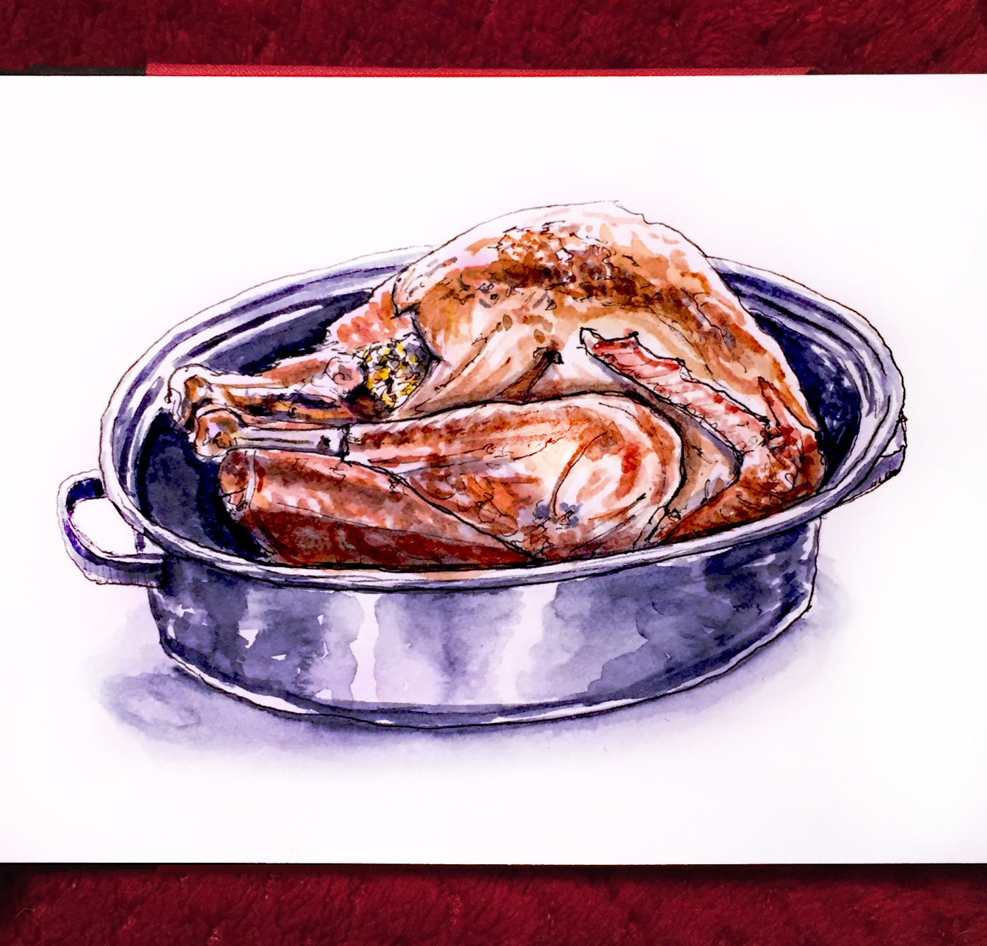 Day 24 - #WorldWatercolorGroup Thanksgiving In Paris turkey prepared in a pot