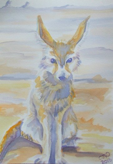 #WorldWatercolorGroup - Watercolor by Chloe Jayne Waterfield - Fennec Fox - #doodlewash
