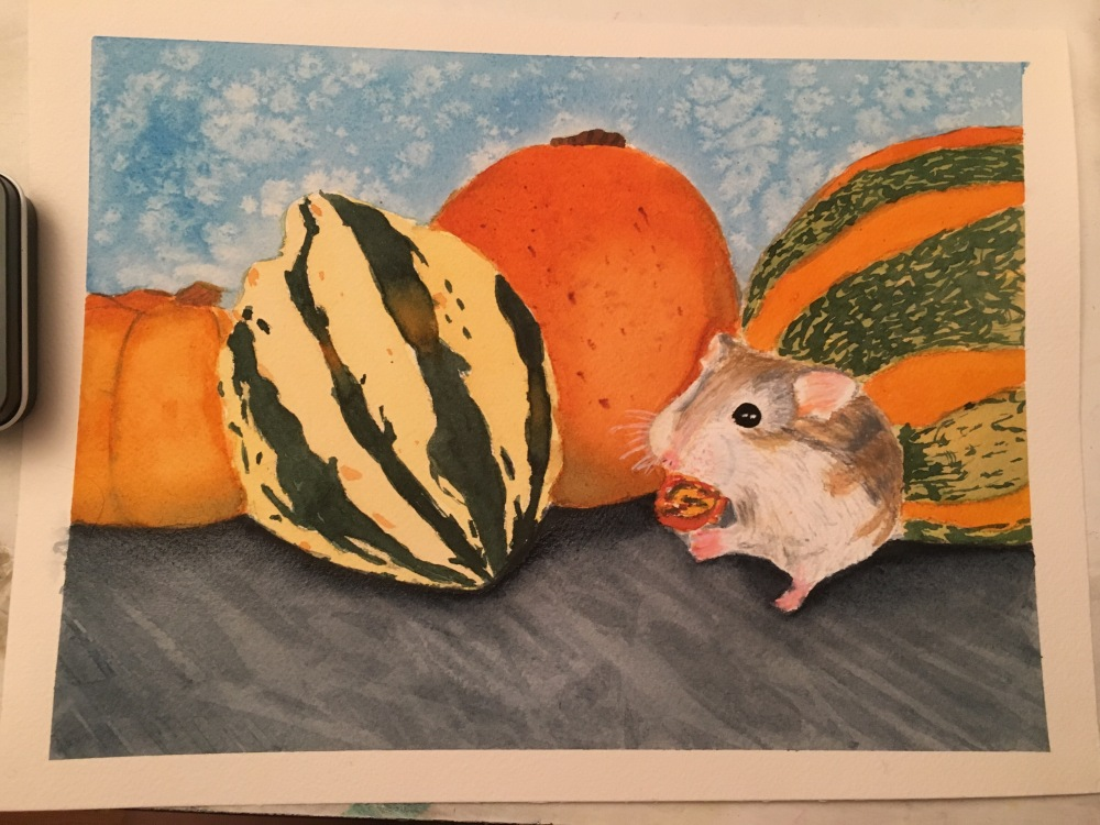 #WorldWatercolorGroup - Watercolor painting of mouse and squash by Jackie