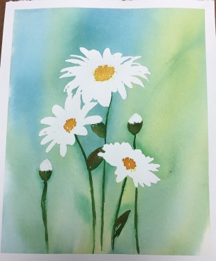 #WorldWatercolorGroup - Watercolor painting of daisies by Jackie