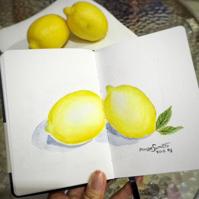 #WorldWatercolorGroup - Watercolor by Maggie Sumitro - Lemons - #doodlewash