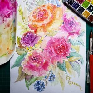 #WorldWatercolorGroup - Watercolor by Lynda Monteverde of flowers - #doodlewash