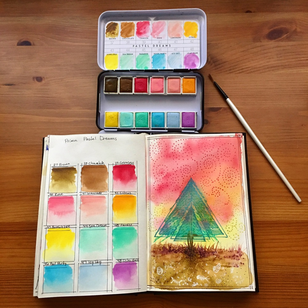 Prima Marketing watercolor confections pastel dreams and painting by jessica seacrest in a stillman and The Speckled Kat watercolor journal