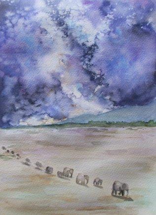 #WorldWatercolorGroup - Watercolor by Chloe Jayne Waterfield - Sketch For Cosmic Elephants - #doodlewash