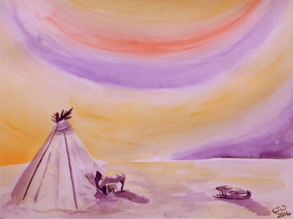 #WorldWatercolorGroup - Watercolor by Chloe Jayne Waterfield - Sketch For Nenets - #doodlewash