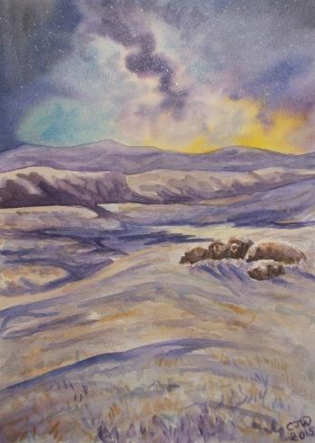 #WorldWatercolorGroup - Watercolor by Chloe Jayne Waterfield - Under The Eternal Night - #doodlewash