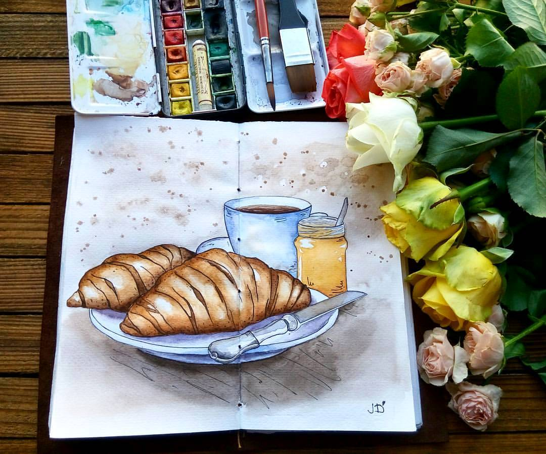 #WorldWatercolorGroup - Watercolor painting by Juliana Danilina in Odessa, Ukraine of croissants - #doodlewash