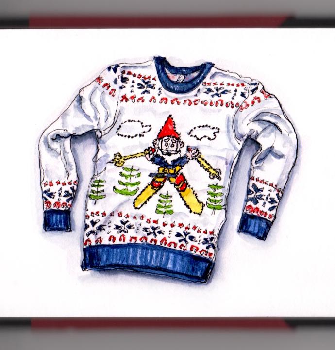 Day 10 - #WorldWatercolorGroup Ugly Christmas Sweater Santa Elf Skiing men's women's