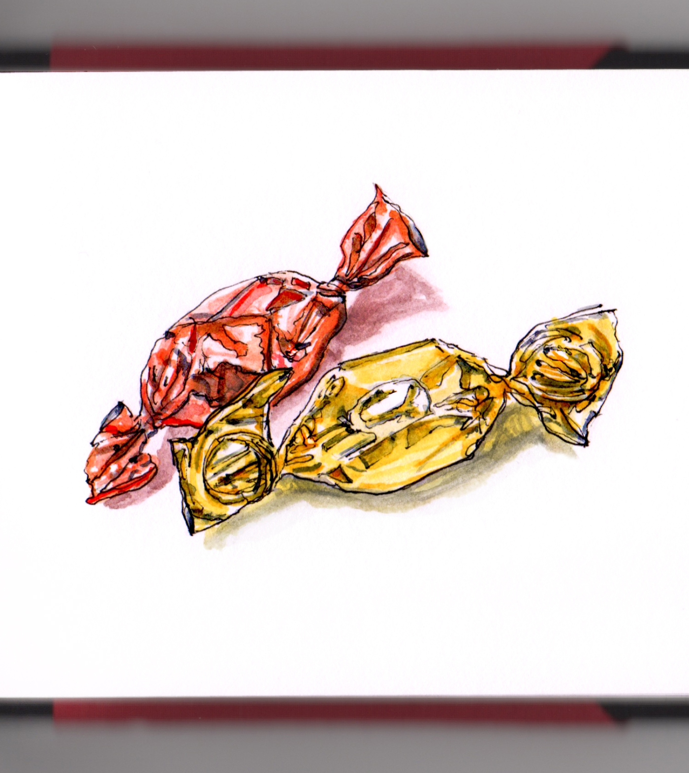 Day 18 - #WorldWatercolorGroup Christmas Candy Foil Wrapped Hard Candy Gold and Red