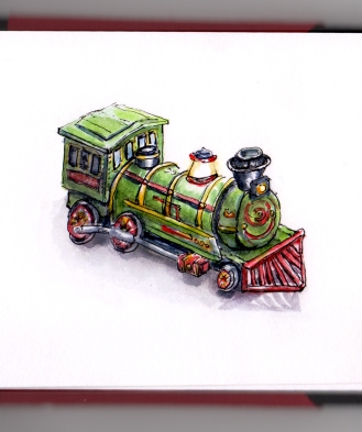 Day 23 - Toy Train Western Special Locomotive Tin metal christmas