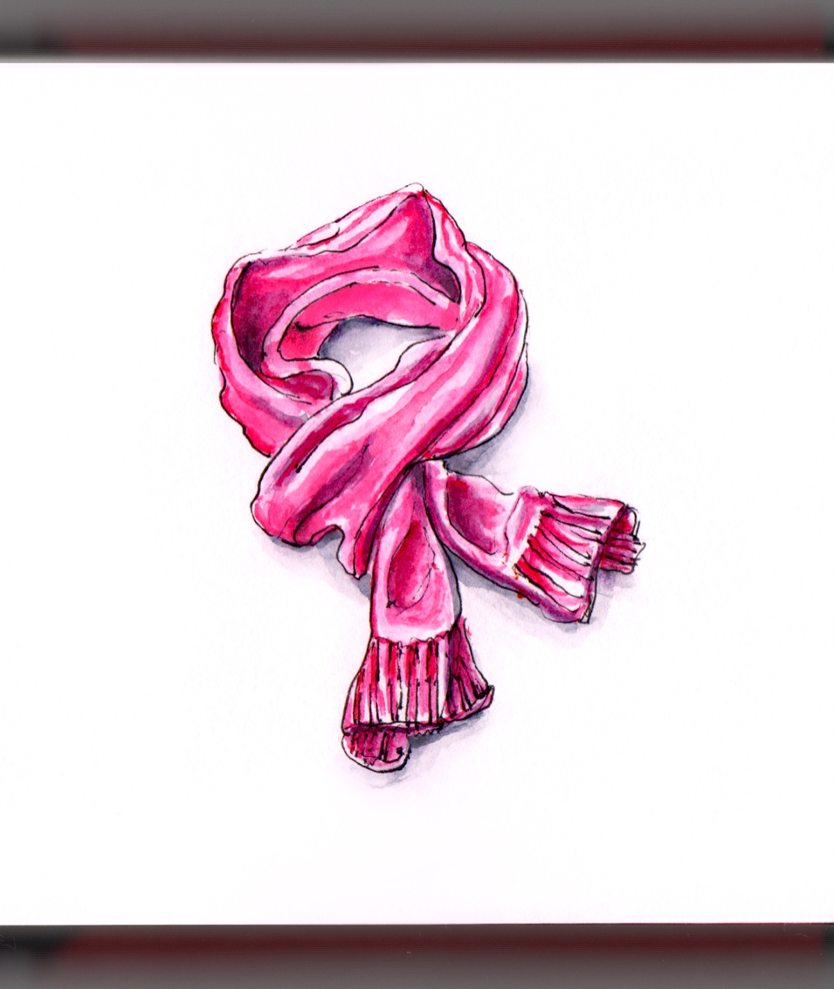 Day 27 - Winter Scarf Weather Pink Scarf on White Background