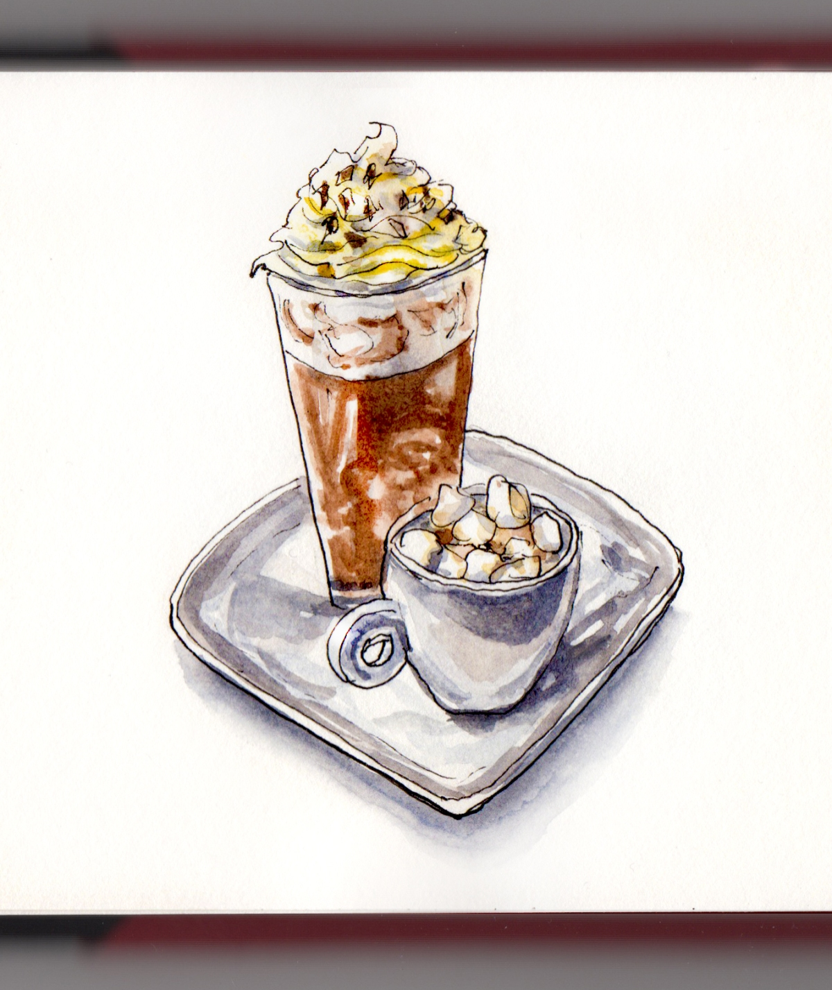 Day 5 - #WorldWatercolorGroup Hot Chocolate Cold Chocolate whipped cream marshmallows