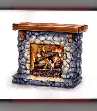 Day 9 - #WorldWatercolorGroup Stone Fireplace with burning fire