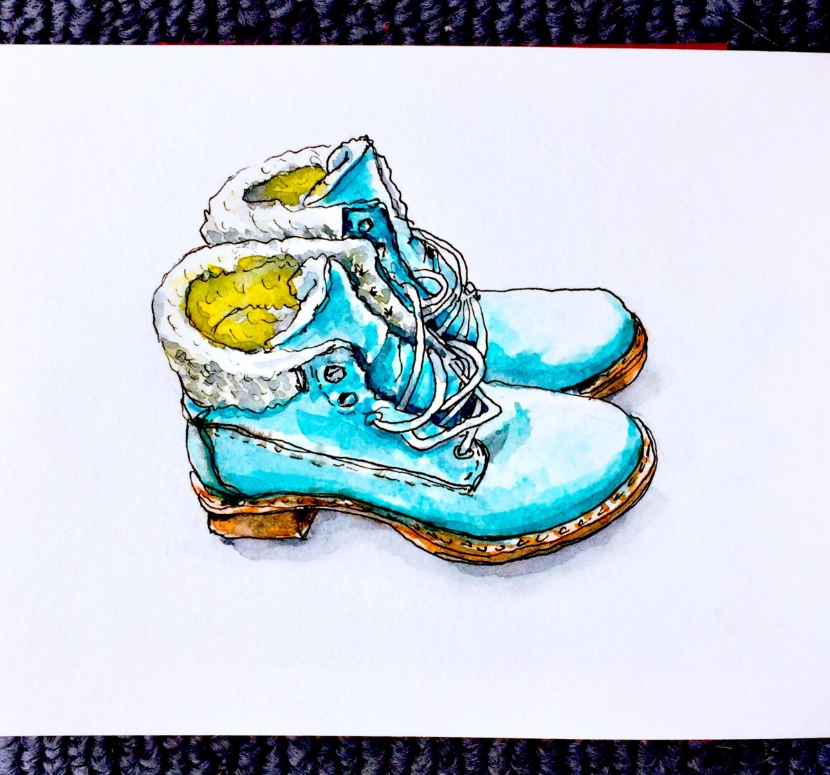 Day 3 - #WorldWatercolorGroup Winter Boots women's boots watercolor white background