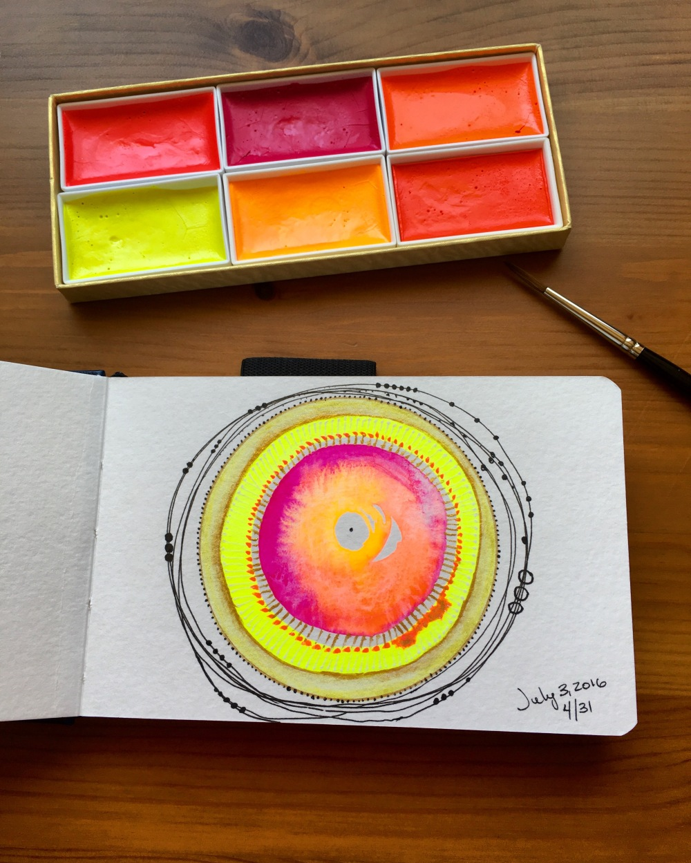 Kissho Gansai Lumi Accent Colors florescent watercolors mandala by jessica seacrest