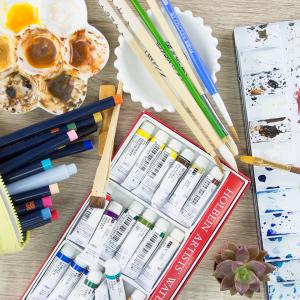 #WorldWatercolorGroup - watercolor sketch by Keiko Weafer Japan of watercolor supplies - #doodlewash