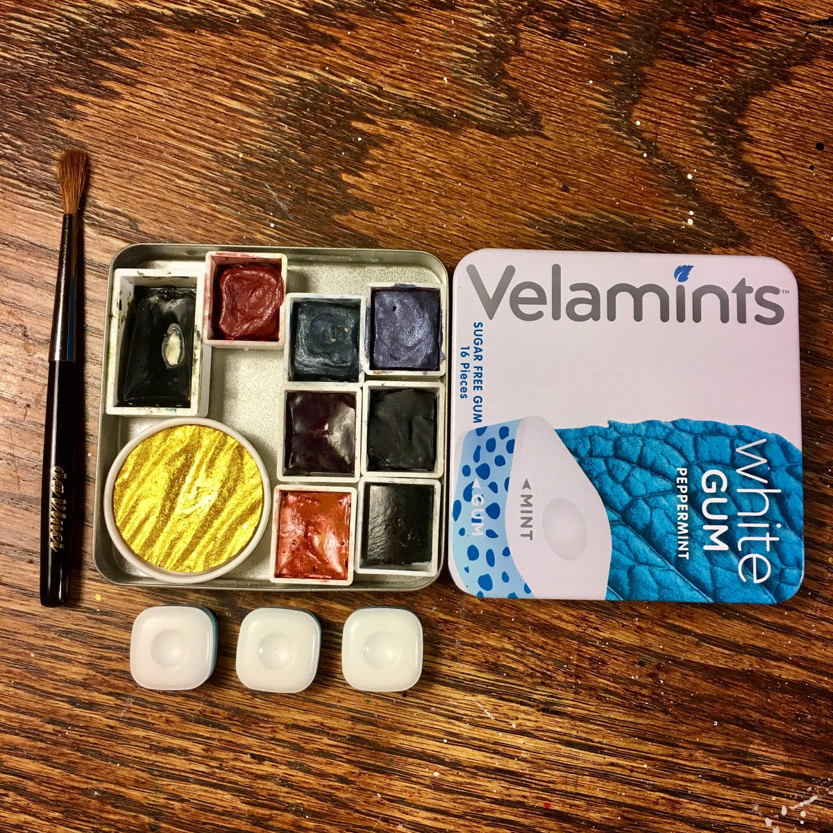 Velamints gum tin watercolor travel palette.