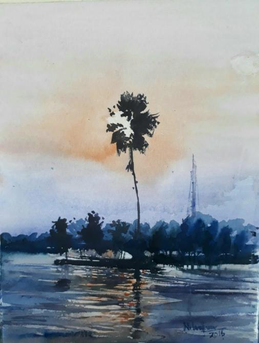 #WorldWatercolorGroup - Watercolor painting by Nilanjan Guha - #doodlewash
