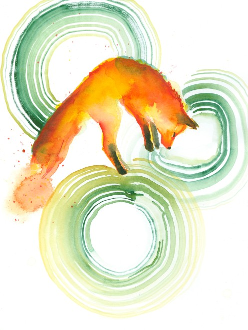 #WorldWatercolorGroup - Watercolor painting by Angela Casey of Jumping Fox - #doodlewash