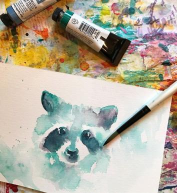 #WorldWatercolorGroup - Watercolor painting by Angela Casey of raccoon - #doodlewash