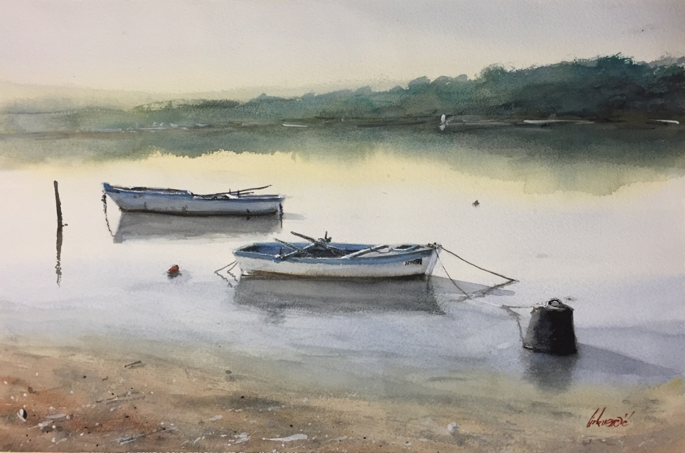 #WorldWatercolorGroup - Watercolor painting of boats by Tihomir Cirkvencic - #doodlewash