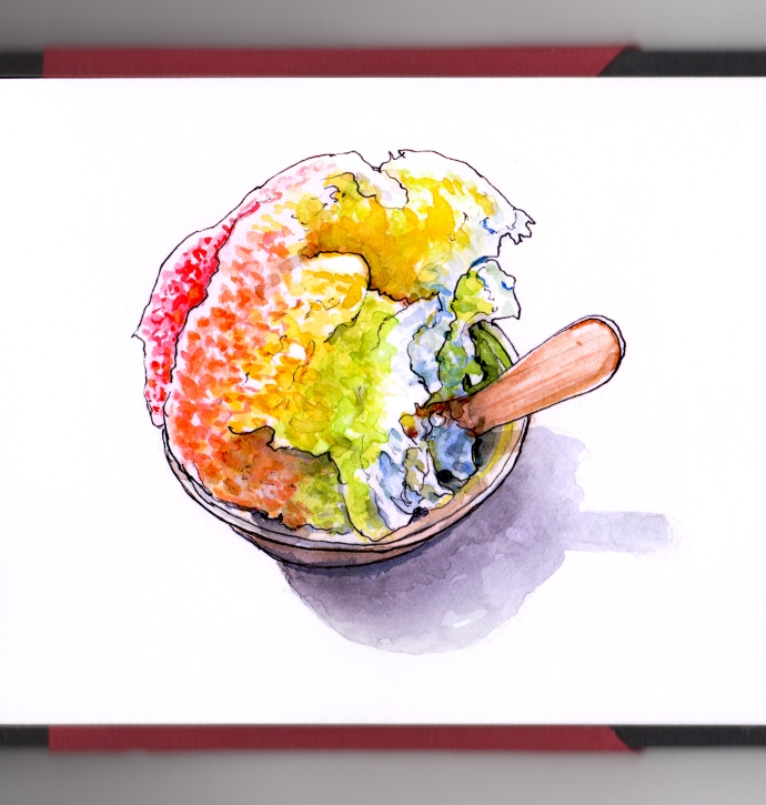 Day 11 - Making Sno-Cones Rainbow Snow Cone in Cup on white Background with wooden spoon
