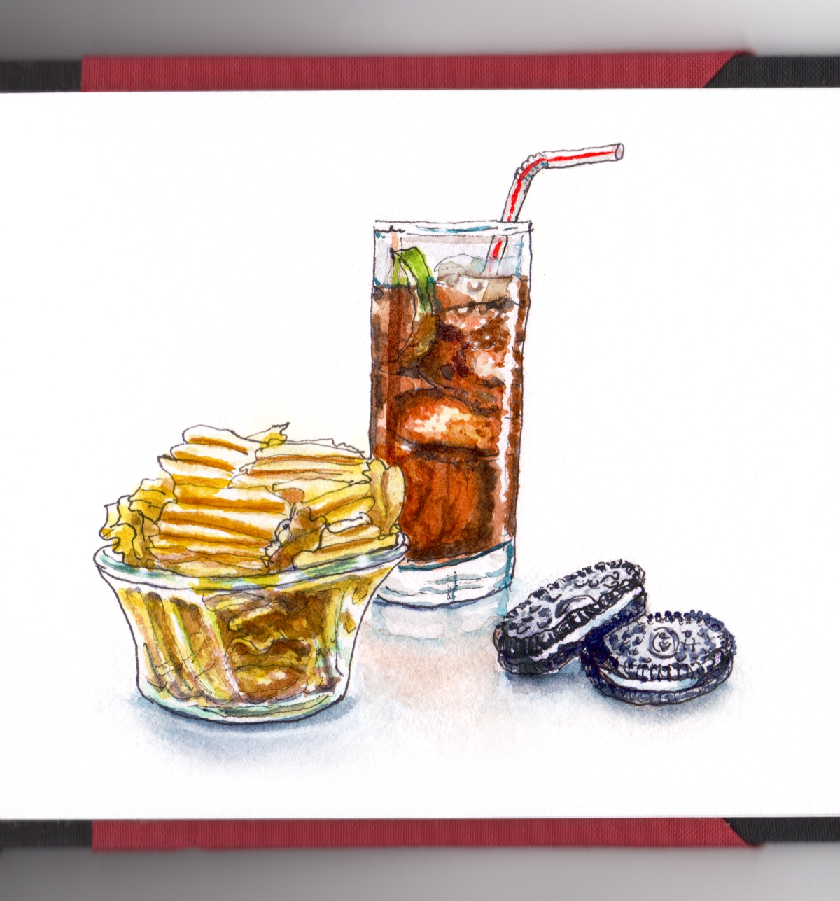 Day 21 - #WorldWatercolorGroup Childhood Snacks Snack TIme Potato Chips Cola Coca-Cola Oreos Cookies