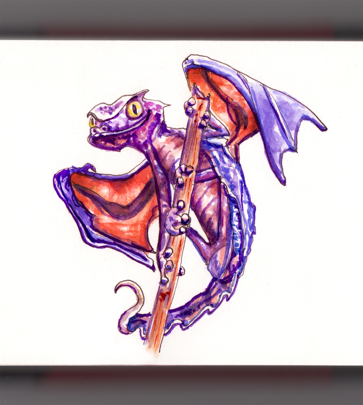 Day 26 - #WorldWatercolorGroup When There Where Dragons Purple Dragon With Wings