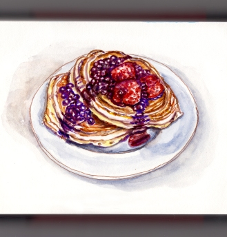 Day 28 - #WorldWatercolorGroup Pancakes In The Morning With Strawberries and Blueberries on a white plate watercolor - #doodlewash