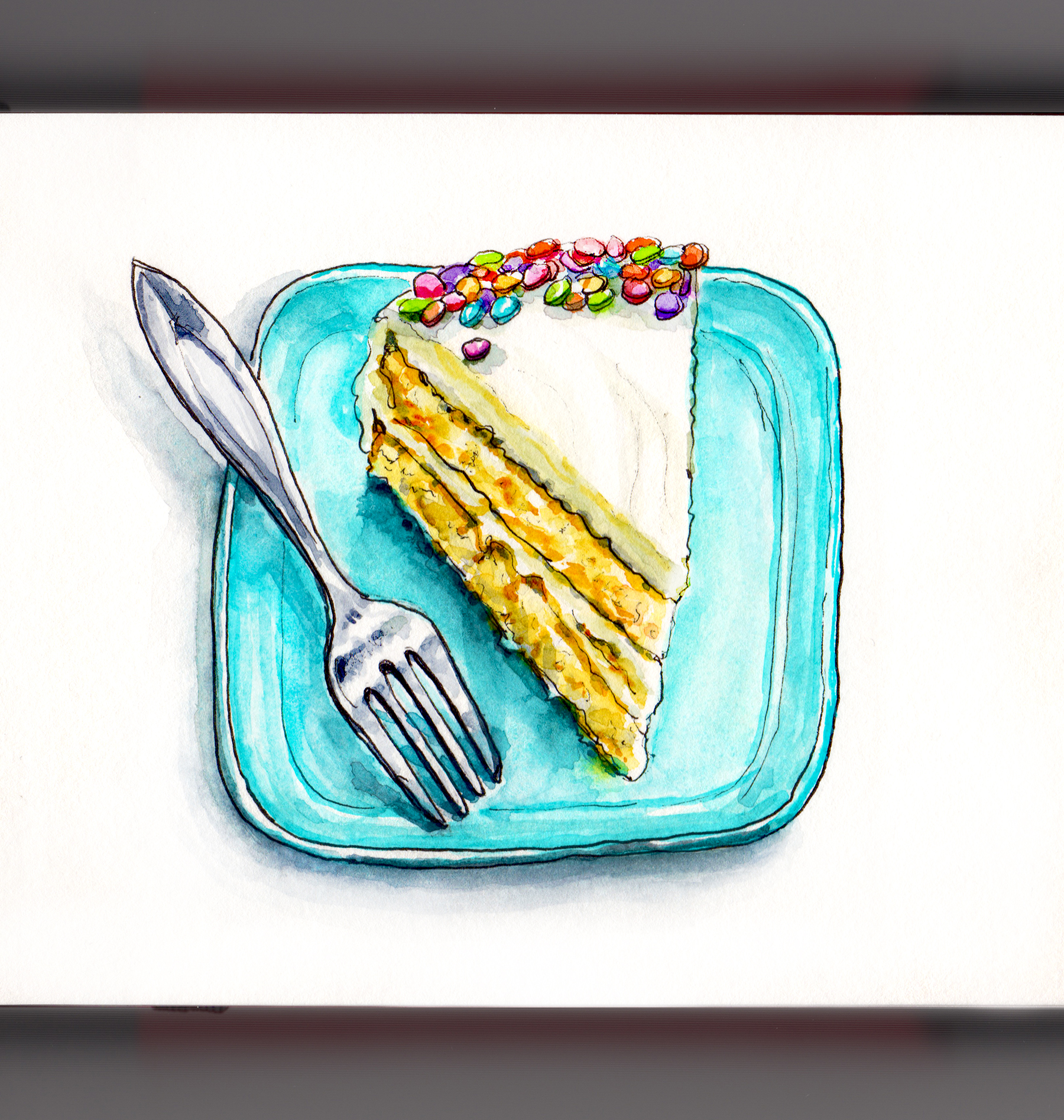 Day 31 - #WorldWatercolorGroup Happy Birthday Cake Confetti Cake on Blue Plate With Fork & Doodlewash® ~ Happy Birthday Cake!