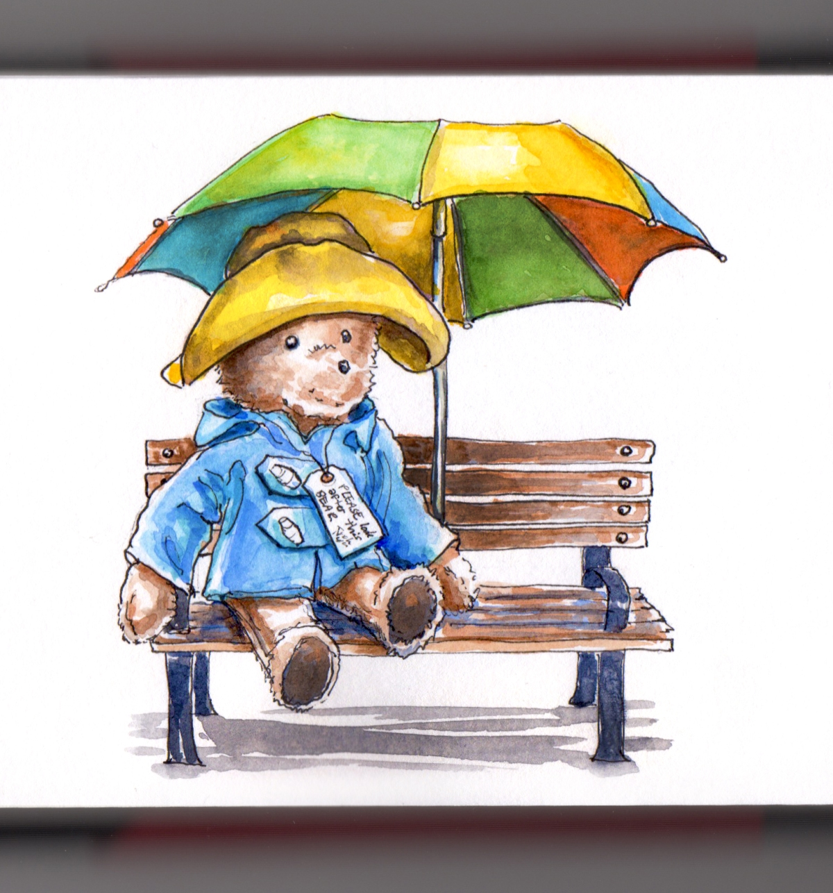 Day 4 - #WorldWatercolorGroup Paddington Bear Simplicity Pattern Stuffed Plush 70s umbrella