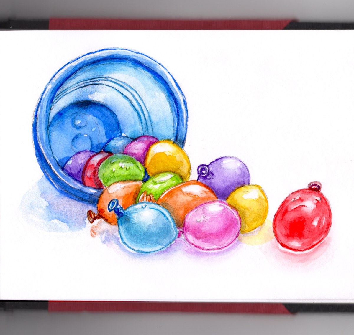 Day 7 - #WorldWatercolorGroup Water Balloon Fight bucket on white background