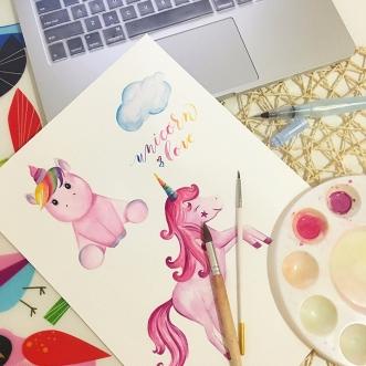 #WorldWatercolorGroup - unicorn watercolor painting by Shiela Sison - #doodlewash