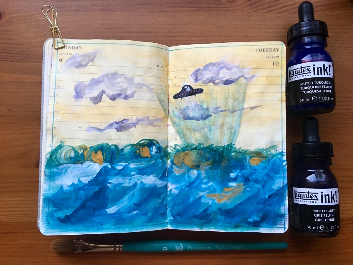 Liquitex Professional Acrylic Ink! Muted Collection and Transparent Set painting by jessica seacrest in a moleskine journal