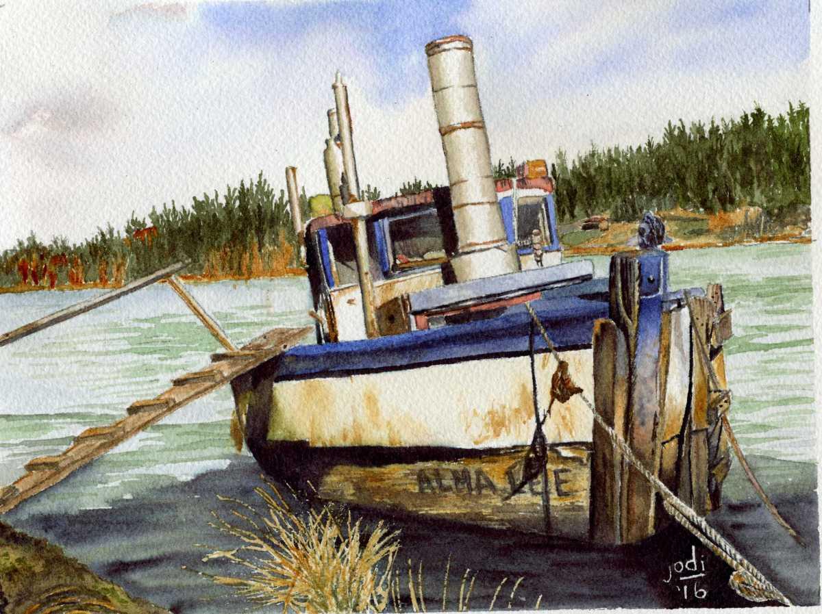 #WorldWatercolorGroup - Watercolor by Jodi Sones of boat - #doodlewash