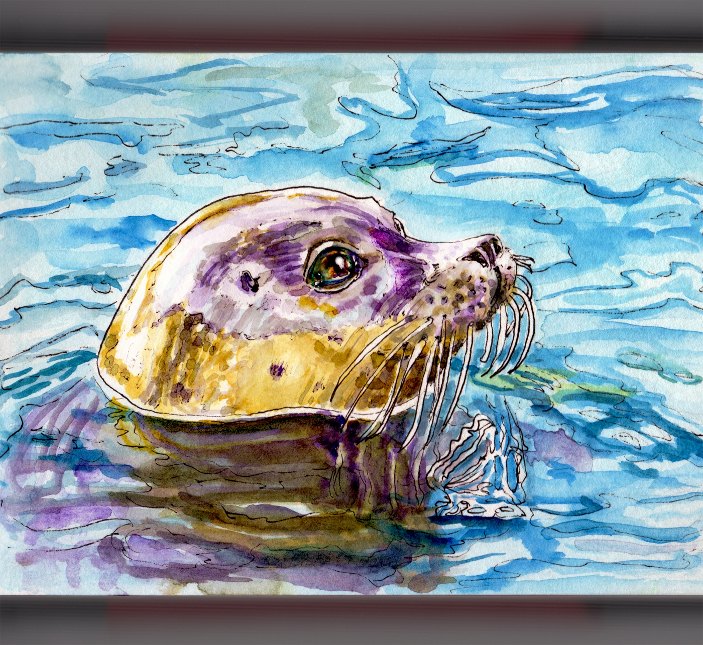 Day 10 - #WorldWatercolorGroup - Hugging A Seal - Seal Head Poking Out Off Water