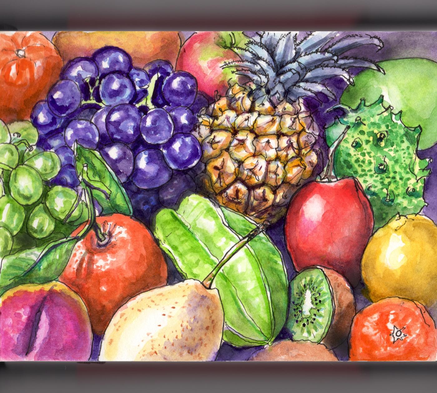 Day 4 - #WorldWatercolorGroup Mixed Fruit Fruits Pineapple Grapes Apples Lemons Pears Oranges Kiwi
