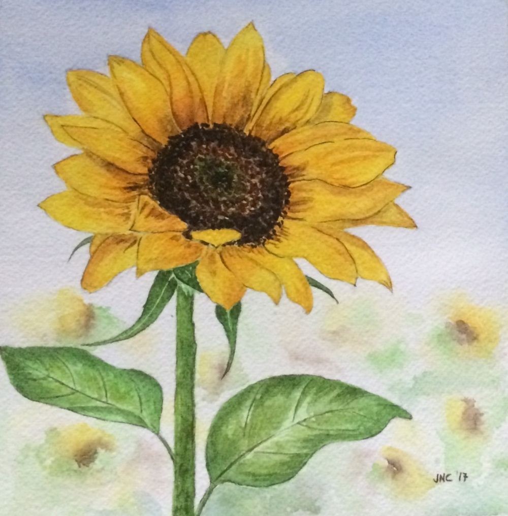 #WorldWatercolorGroup - Watercolor painting of sunflower by Tamz Canete - #doodlewash