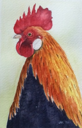 #WorldWatercolorGroup - Watercolor painting of rooster by Tamz Canete - #doodlewash