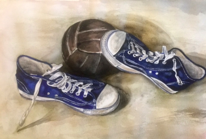 #WorldWatercolorGroup - Watercolor painting by Mimi Dimova of tennis shoes sneakers - #doodlewash