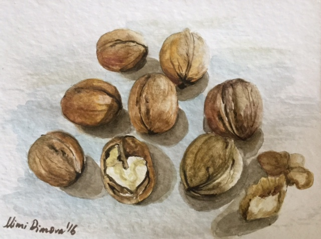 #WorldWatercolorGroup - Watercolor painting by Mimi Dimova of nuts - #doodlewash