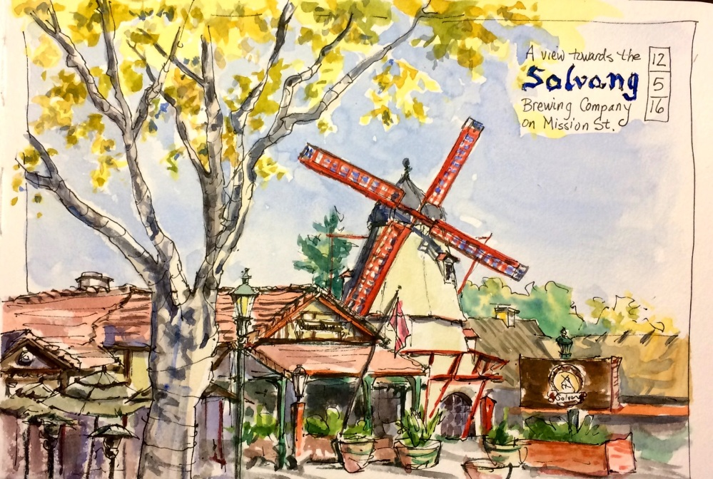 #WorldWatercolorGroup - Watercolor of windmill by Leslie Rich - #doodlewash
