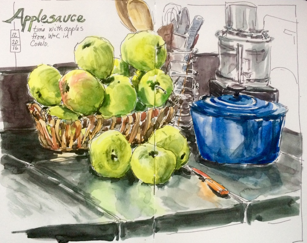 #WorldWatercolorGroup - Watercolor of apples making applesauce at home by Leslie Rich - #doodlewash