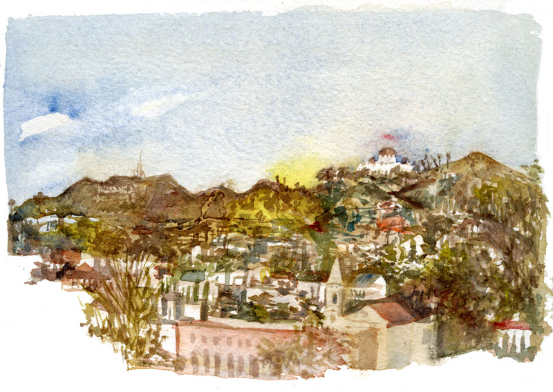 #WorldWatercolorGroup - Watercolor by Shiho Nakaza of Barnsdall Park Hollywood - #doodlewash
