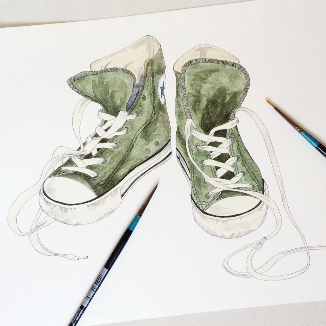 #WorldWatercolorGroup - Watercolor by Elizabeth Shana of Converse sneakers shoes - #doodlewash
