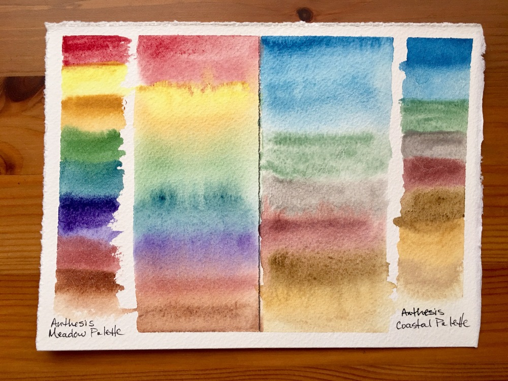 Anthesis Arts handcrafted watercolors Meadow palette, coastal palette, swatch