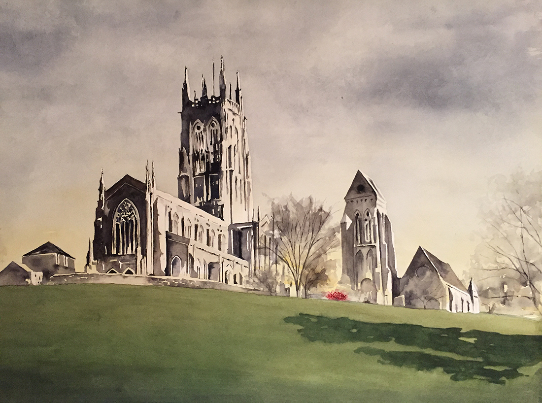 #WorldWatercolorGroup - Watercolor painting of church by Ellie Moniz - #doodlewash