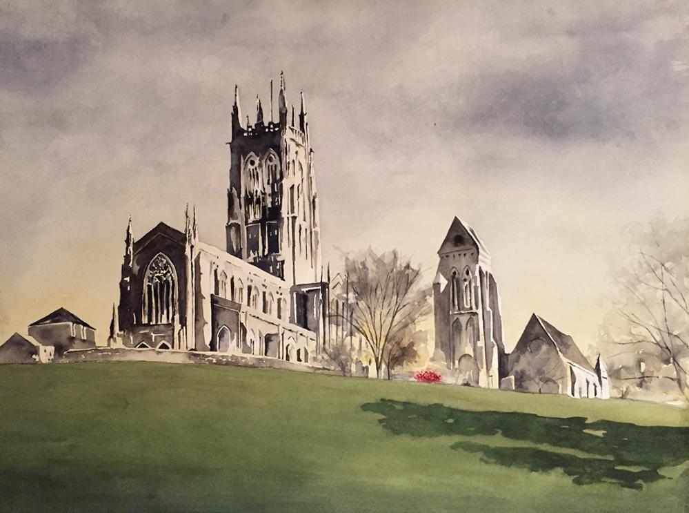 #WorldWatercolorGroup - Watercolor painting of church by Ellie Moniz - #doodlewash