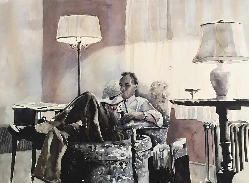 #WorldWatercolorGroup - Watercolor painting of man in chair reading Time Magazine by Ellie Moniz - #doodlewash